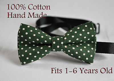 Boy Kids Baby Toddler 100% Cotton Green White Dots Bow Tie Bowtie 1-6 Years Old