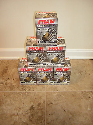 6x Fram TG8A Tough Guard Oil filter NEW FORD V8 FL-1A Synthetic-Blend filter