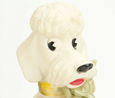 "Vintage Poodle Coin Bank - 8"" Collectible White Plastic Dog Figure"