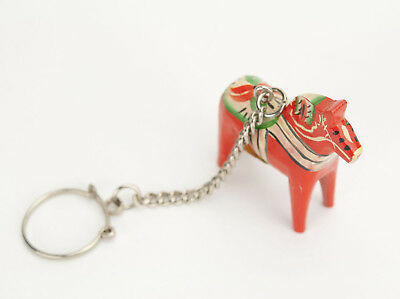 "Vintage Dala Horse Keychain - Hand Painted Wooden Orange 2"" - Sweden GA Olsson"