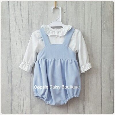 Spanish Blue Cord Dungaree Romper & Frill Collar Shirt Sets  ☆