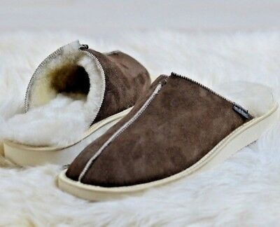 New Hand Crafted Mens Genuine Sheepskin Nonslip Mule Slippers, 100% Real Fur