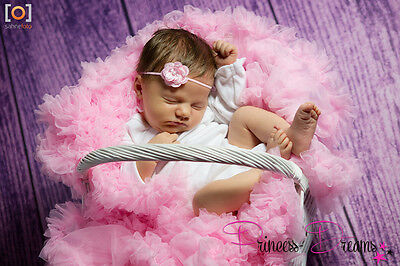 Princess-Dreams 80 Baby  NEU Haarband Stirnband Taufe rosa Blume Fotoshooting