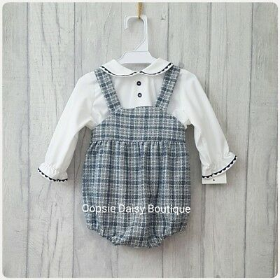 Spanish Tweed Navy Blue Checked Dungaree Romper & Shirt Sets  ☆