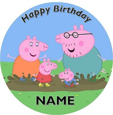 PEPPA PIG Personalised Edible Kids Party Cake Topper 19cm Round Image