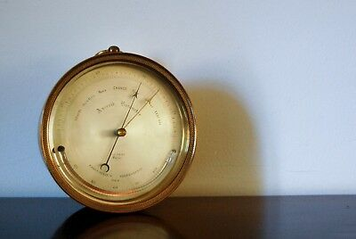 Early Lucien Vidi Brass Cased Aneroid Barometer Retailed By Ej Dent