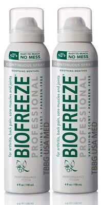 2 BIOFREEZE PRO 360 degree 4 oz Spray Pain Relief NO MESS, FREE SHIPP EXP 2020+