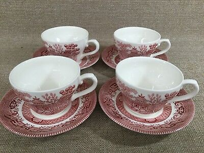 Churchill Of England Red Pink Rosa Willow Cup and Saucer Coffee Tea - Set of 4