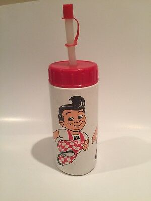 Bob's Big Boy Advertising Water Bottle Vintage Red Cap and Straw & Cap Very Rare