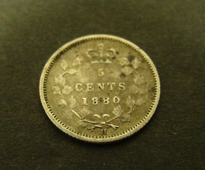 1880-H CANADA 5 CENTS SILVER    Canadian     Foreign Coin    5c