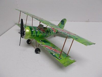 Aluminum soda can handcrafted airplane/MT. DEW (BI-PLANE)