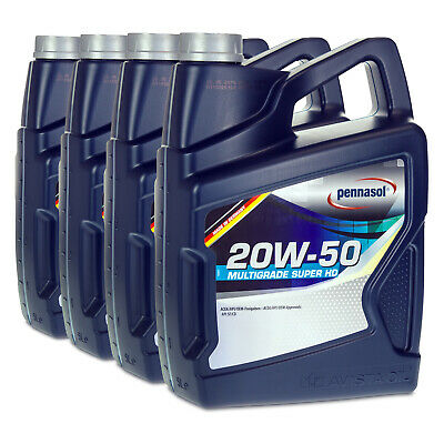 20 (4x5) Liter pennasol SAE 20W-50 Multigrade Super HD Old- & Youngtimer Motoröl