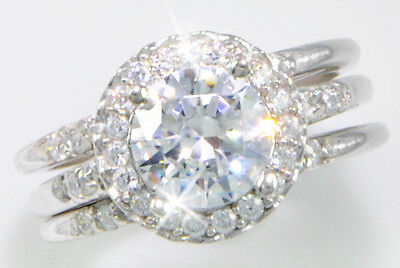 1.75 ct Round with Double Bands Top CZ Imitation Moissanite Simulant SS Size 10