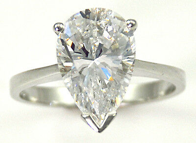 1 ct Pear Ring Vintage Brilliant Top Russian CZ Moissanite Simulant Size 4