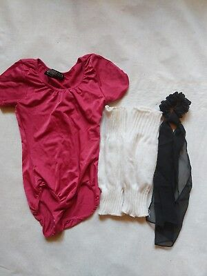 Girls dancewear lot capezio leotard, leg warmers hair accessories