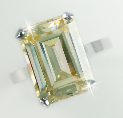 10 ct Canary Emerald Cut Ring Vintage Top Russian CZ Moissanite Simulant Size 7
