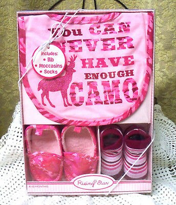 New Pink Camo Baby Bib, Moccasins, socks. 6-12 Months old, 3 Piece Set Girl