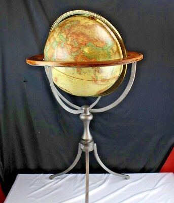 "Vintage Replogle World Classic 16"" Raised Relief Globe Wrought Iron Floor Stand"