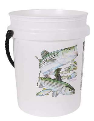 TackleDirect TDSBWHT 5 Gallon Bucket Striped Bass White w/Black Rope Handle