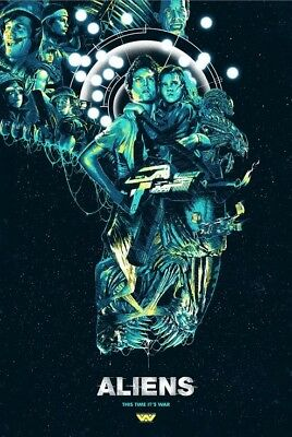 "Aliens Poster ""They Mostly Come At Night...Mostly"" Blacklight LE by Luke Preece!"