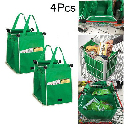 4 Pk Grocery Foldable Reusable Shopping Grab Bags Eco Trolley Tote Clip To Cart