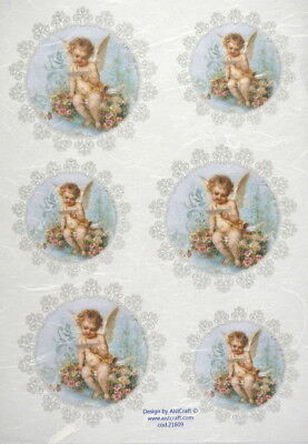 Rice Paper -Angel on blue- for Decoupage Decopatch Scrapbook Craft