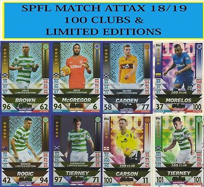 SPFL Match Attax 2018 2019 18 19 LIMITED EDITION and 100 CLUB CARDS