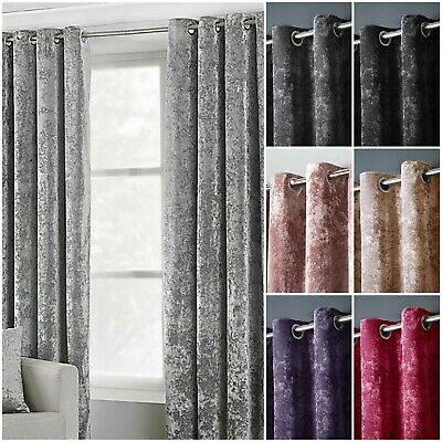 Luxury Pair Of Thermal Crushed Velvet Velour Eyelet Lined Curtains + Tie Backs