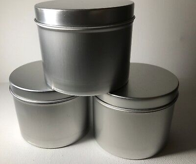 up to 50 Candle Tins for Candle Making 6oz SILVER Metal Tins Containers lids