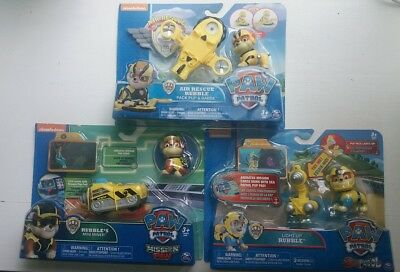 NEW 3 Sets PAW PATROL RUBBLE Air Rescue Pack Pup & Badge + Mini Miner + Light-Up