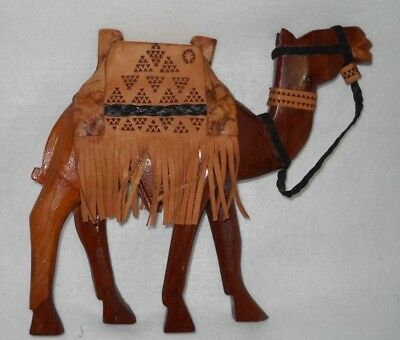 "Large Wood Camel  Figurine 10"" Head to Foot 9.5"" Wide"