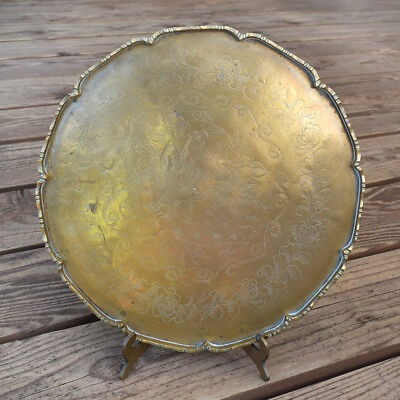 Vintage Chinese Brass Round Engraved Man and Woman Drink Tray Platter Art 11""