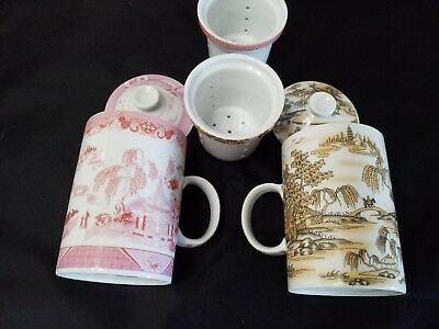 2 Chinese Porcelain Tea Cup Handled Infuser  Lid 10 oz Set of two Beautiful