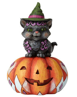Jim Shore Heartwood Creek*PINT BLACK CAT on PUMPKIN*New 2018*HALLOWEEN*6001548