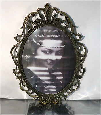 Vintage Ornate Brass Picture Frame with Convex Glass, Made in Italy