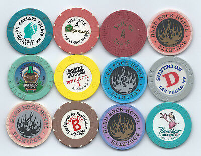 ***new.********12 Roulette Chips*********from Different Casino's****read Desc.