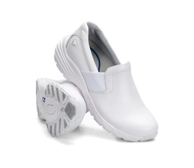 New Womens Nurse Mates Harmony White Leather Slip Resistant Slip On Shoes