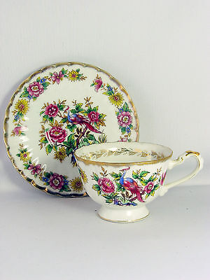 Vintage Exotic Bird Shafford Hand Decorated China floral cup and saucer Japan