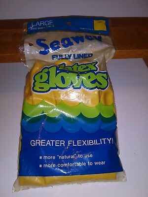 Vtg yellow Hands Latex Rubber Gloves. Sz large fits over size 8 seaway foods nos
