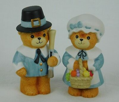 "Enesco ~ LUCY & ME ~ Pilgrim Bears Thanksgiving 3.5"" 1984 Vintage"