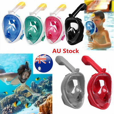 180° Kids Adults Full Face Mask Swimming Dry Diving Goggle Snorkel Scuba Mask AU