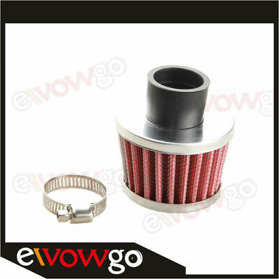 """Universal 25mm 1"""" Cold Air Intake Turbo Vent Crankcase Breather Filter Red"""
