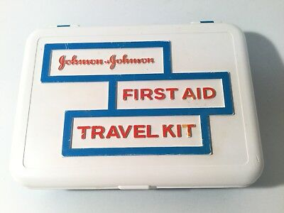 Vintage 1960s Johnson & Johnson First Aid Travel Kit, Supplies, Instructions