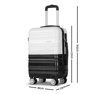 Set of 3 Luggage Suitcase Trolley Travel Bags Hard Shell Wheels Black & White