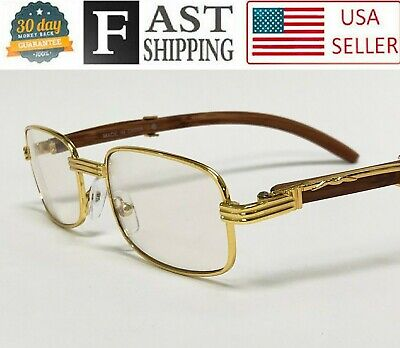 28710f12579c Mens Women Migos Vintage Gold Wood Frame Fashion Clear Lens Eye Glasses  Designer