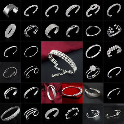 For Women 925 Silver Plated Bracelet Charm Cuff Open Bangle Fashion Style