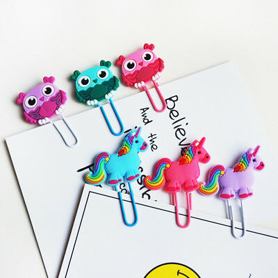 2pcs Creative Unicorn Bookmark Cute Book Markers Paper Clip Kids Gift Stationery