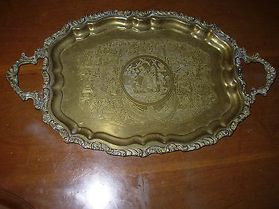 Old Vintage Egyptian Revival brass serving tray hand-made hieroglyphic nr 1920's