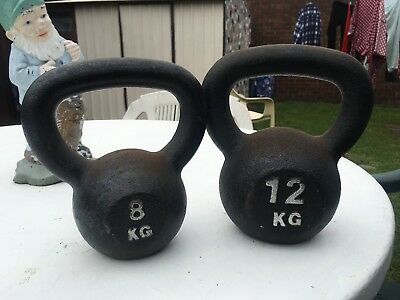 8kg & 12kg Black Kettle Bells Never used but sitting outside so little rusty GYM