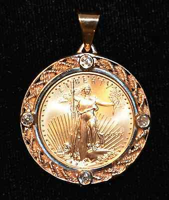 1997 American Eagle 1/4oz Gold Coin set in 14K Yellow Gold Pendant with Diamonds